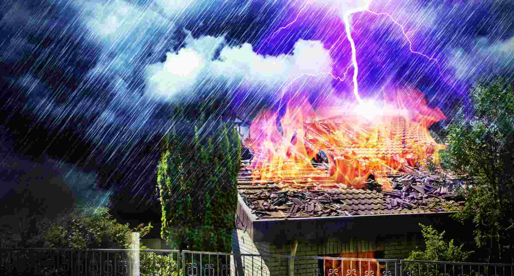 lightning hits house